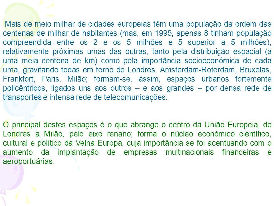 Metrópoles Europeias A civilização e a cultura europeias são essencialmente urbanas. A Europa é o segundo continente de maior taxa de urbanização mund