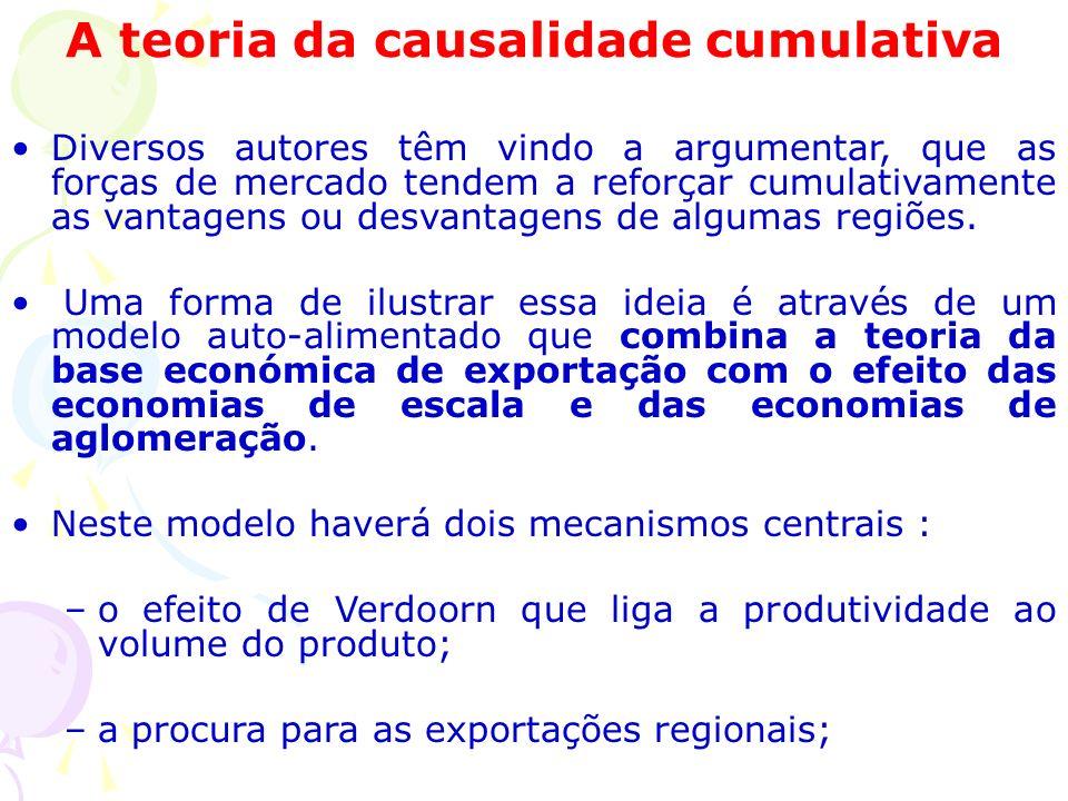 A teoria da causalidade cumulativa Diversos autores têm vindo a argumentar, que as forças de mercado tendem a reforçar cumulativamente as vantagens ou desvantagens de algumas regiões.