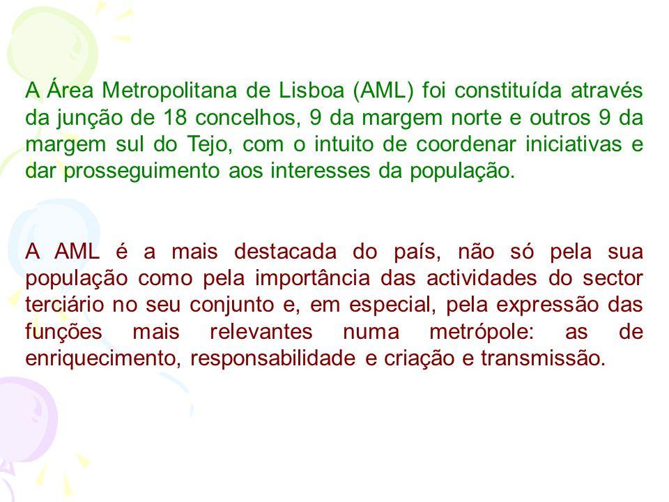 A Área Metropolitana de Lisboa (AML) foi constituída através da junção de 18 concelhos, 9 da margem norte e outros 9 da margem sul do Tejo, com o intuito de coordenar iniciativas e dar prosseguimento aos interesses da população.