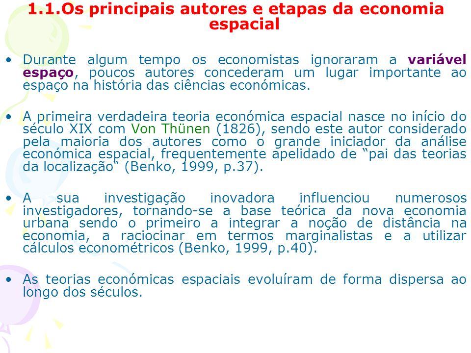 1.1.Os principais autores e etapas da economia espacial Durante algum tempo os economistas ignoraram a variável espaço, poucos autores concederam um lugar importante ao espaço na história das ciências económicas.