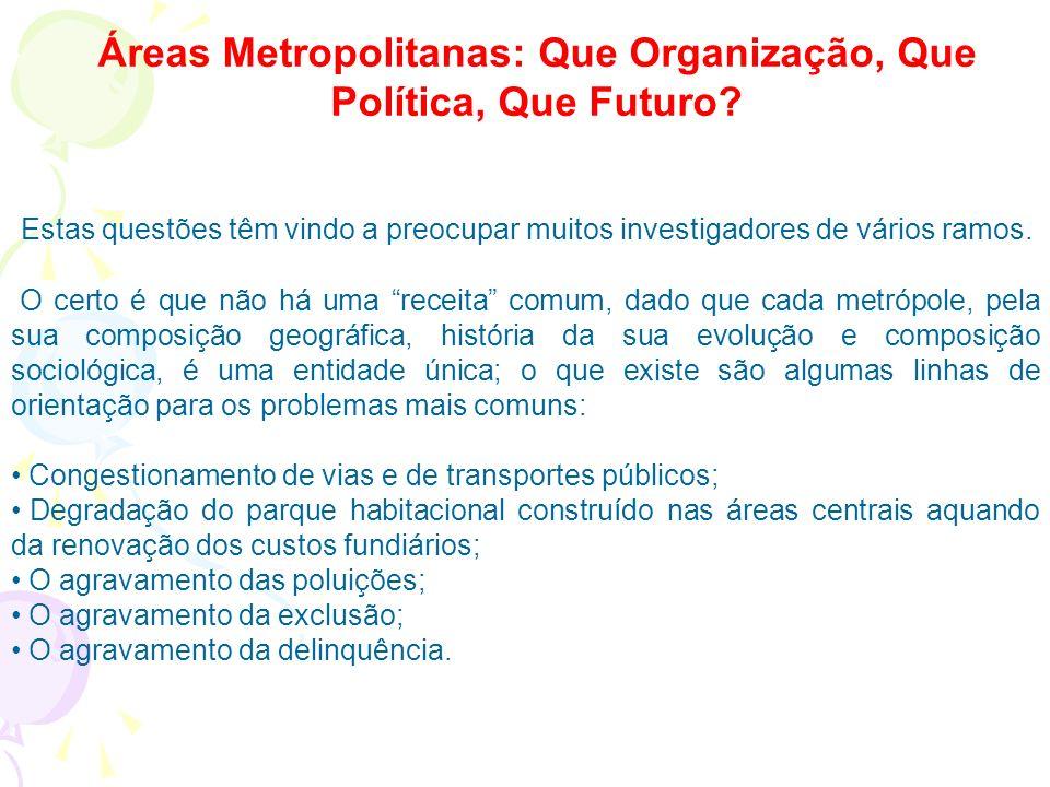 Áreas Metropolitanas: Que Organização, Que Política, Que Futuro.