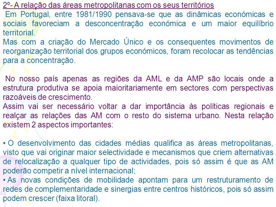 2º- A relação das áreas metropolitanas com os seus territórios Em Portugal, entre 1981/1990 pensava-se que as dinâmicas económicas e sociais favoreciam a desconcentração económica e um maior equilíbrio territorial.