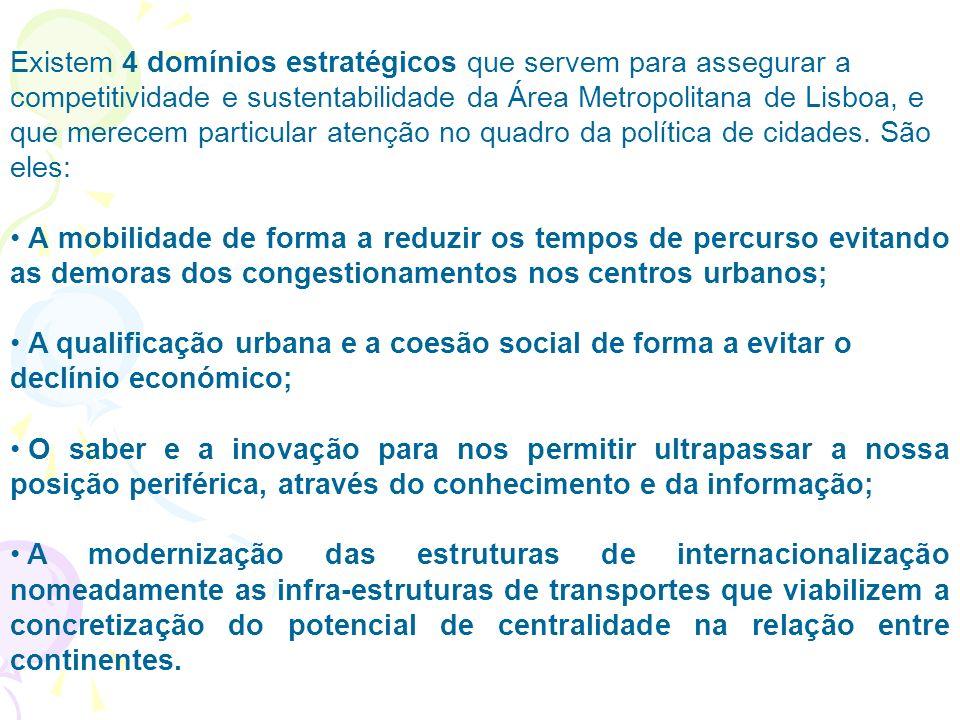 Existem 4 domínios estratégicos que servem para assegurar a competitividade e sustentabilidade da Área Metropolitana de Lisboa, e que merecem particular atenção no quadro da política de cidades.