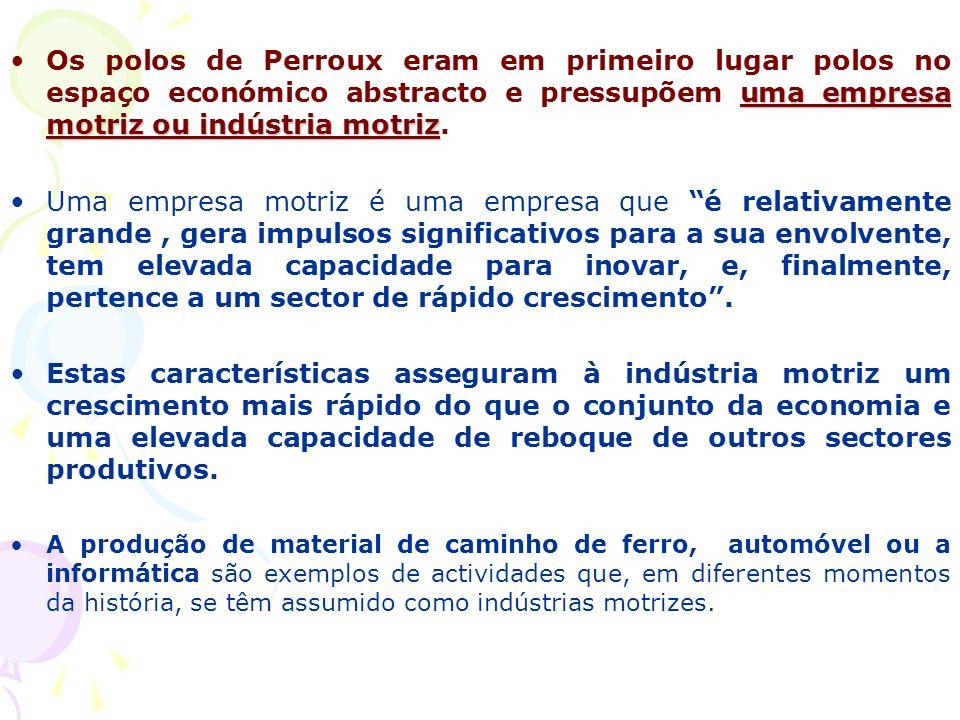 uma empresa motriz ou indústria motrizOs polos de Perroux eram em primeiro lugar polos no espaço económico abstracto e pressupõem uma empresa motriz ou indústria motriz.