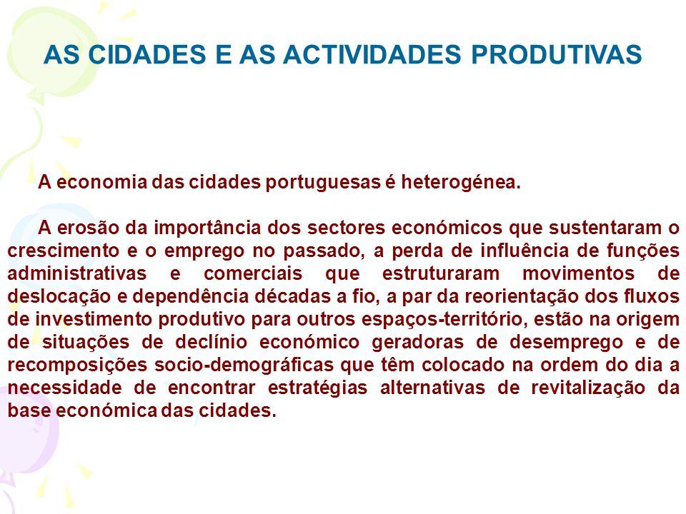AS CIDADES E AS ACTIVIDADES PRODUTIVAS A economia das cidades portuguesas é heterogénea.
