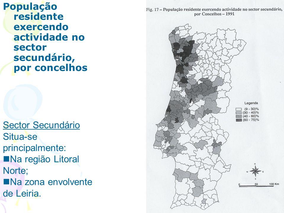 População residente exercendo actividade no sector secundário, por concelhos Sector Secundário Situa-se principalmente: Na região Litoral Norte; Na zona envolvente de Leiria.
