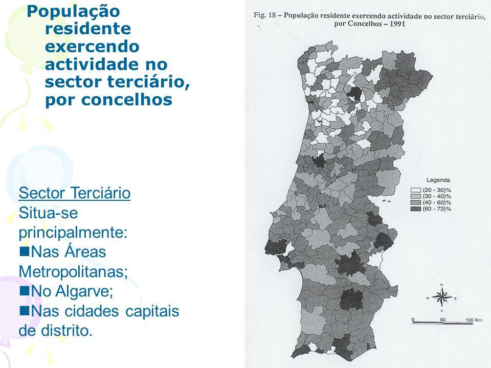População residente exercendo actividade no sector terciário, por concelhos Sector Terciário Situa-se principalmente: Nas Áreas Metropolitanas; No Algarve; Nas cidades capitais de distrito.