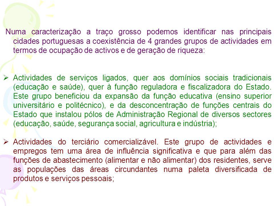 A heterogeneidade económico-produtiva das cidades portuguesas A estrutura das actividades económicas e do emprego da generalidade das cidades portugue