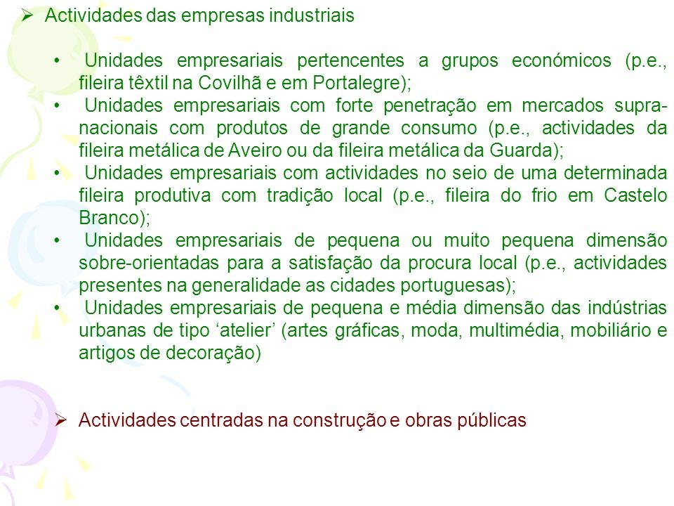 Numa caracterização a traço grosso podemos identificar nas principais cidades portuguesas a coexistência de 4 grandes grupos de actividades em termos
