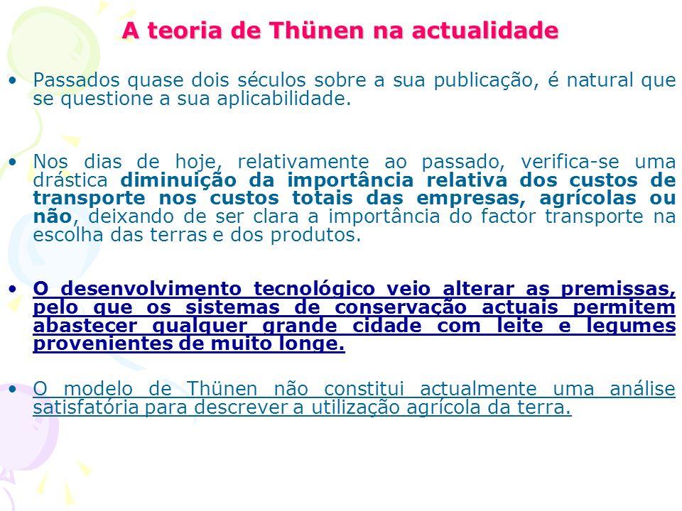 A teoria de Thünen na actualidade Passados quase dois séculos sobre a sua publicação, é natural que se questione a sua aplicabilidade.