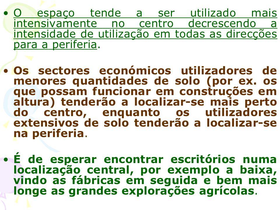 Generalização do modelo a outras actividades económicas A relação apresentada para as produções agrícolas pode generalizar-se para o conjunto de secto