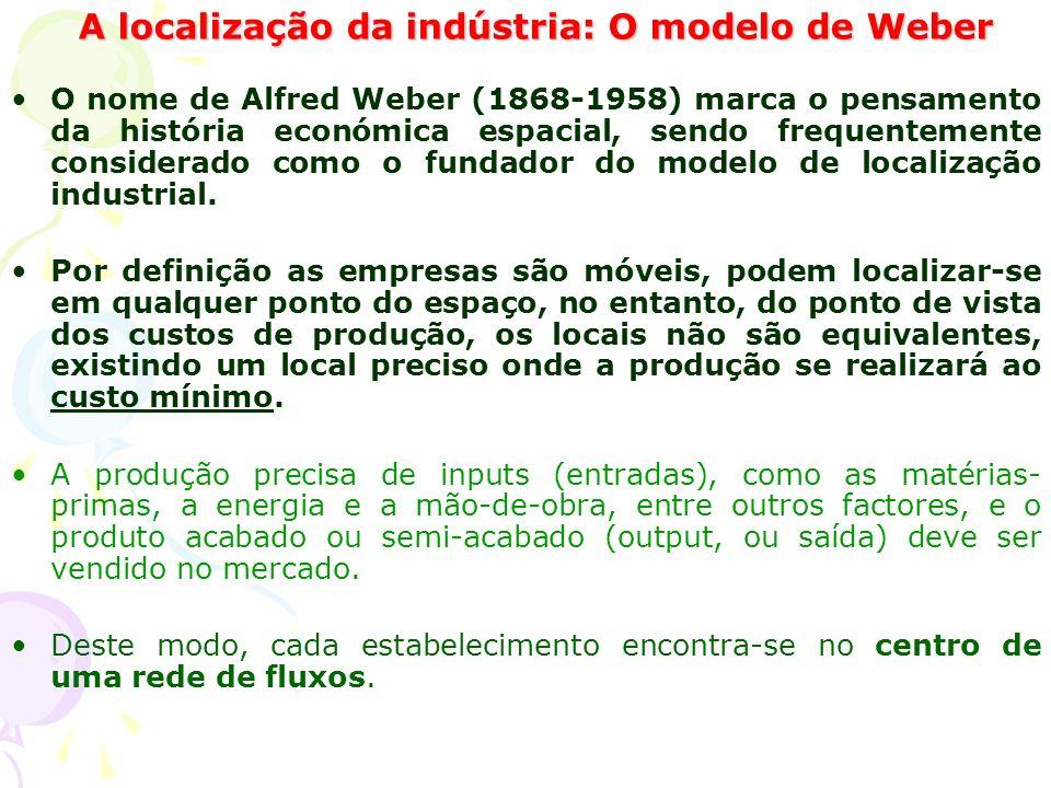 A localização da indústria: O modelo de Weber O nome de Alfred Weber (1868-1958) marca o pensamento da história económica espacial, sendo frequentemente considerado como o fundador do modelo de localização industrial.