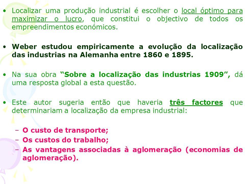 A localização da indústria: O modelo de Weber O nome de Alfred Weber (1868-1958) marca o pensamento da história económica espacial, sendo frequentemen