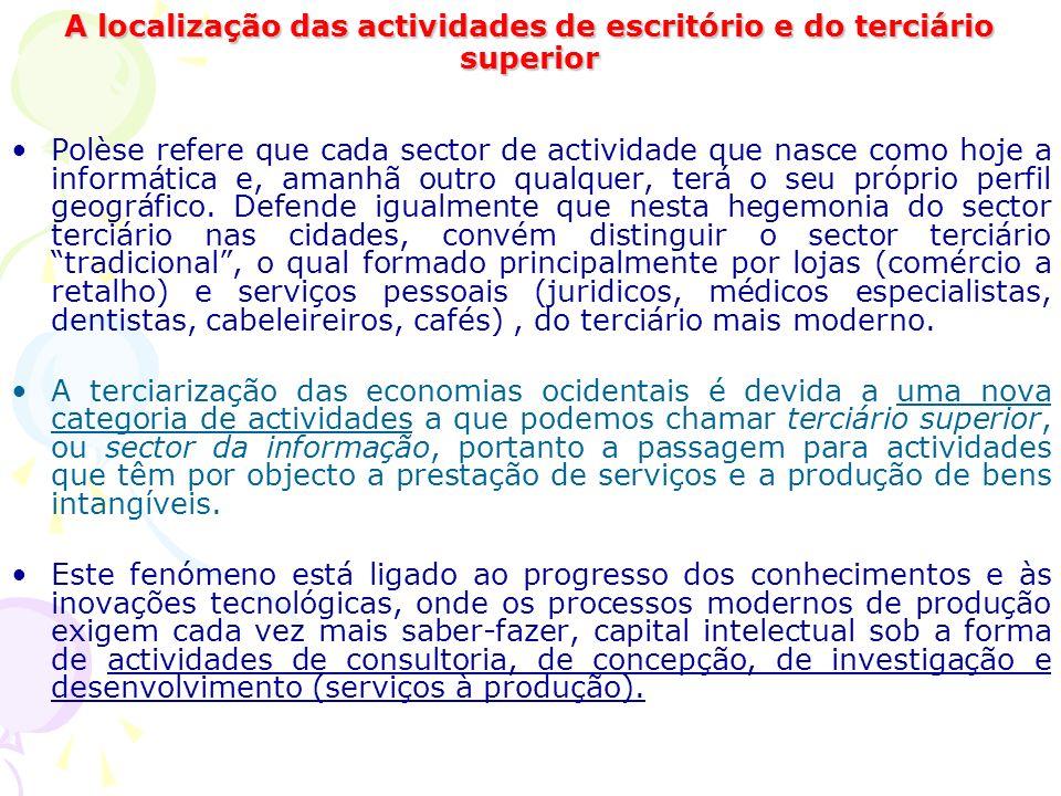 A localização das actividades de escritório e do terciário superior Polèse refere que cada sector de actividade que nasce como hoje a informática e, amanhã outro qualquer, terá o seu próprio perfil geográfico.