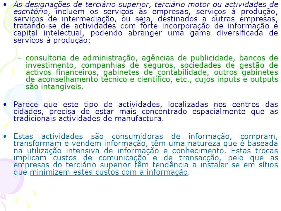 A localização das actividades de escritório e do terciário superior Polèse refere que cada sector de actividade que nasce como hoje a informática e, a