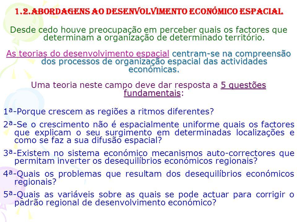 1.2.Abordagens ao Desenvolvimento económico espacial Desde cedo houve preocupação em perceber quais os factores que determinam a organização de determinado território.