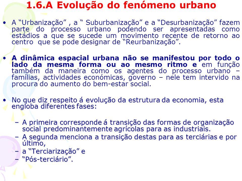 1.6.A Evolução do fenómeno urbano A Urbanização, a Suburbanização e a Desurbanização fazem parte do processo urbano podendo ser apresentadas como estádios a que se sucede um movimento recente de retorno ao centro que se pode designar de Reurbanização.
