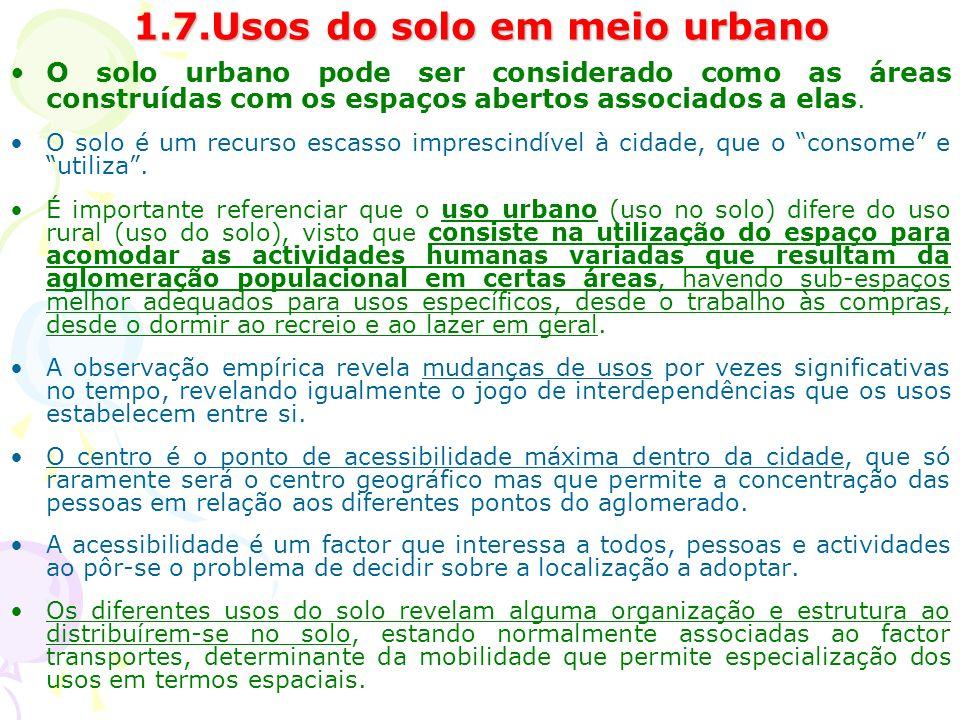 1.7.Usos do solo em meio urbano O solo urbano pode ser considerado como as áreas construídas com os espaços abertos associados a elas.