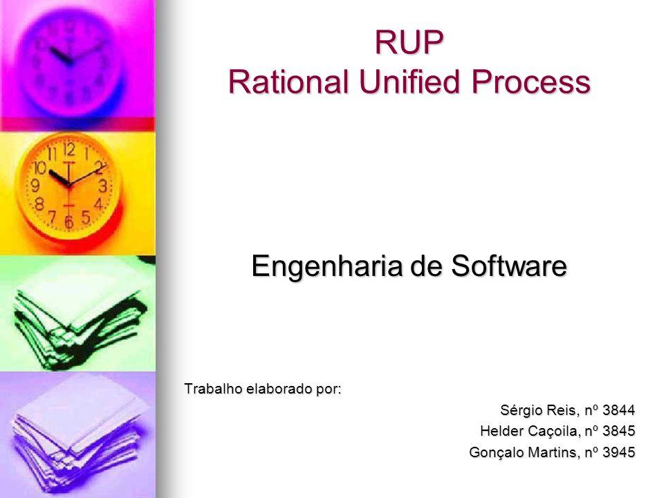 RUP Rational Unified Process Engenharia de Software Trabalho elaborado por: Sérgio Reis, nº 3844 Helder Caçoila, nº 3845 Gonçalo Martins, nº 3945