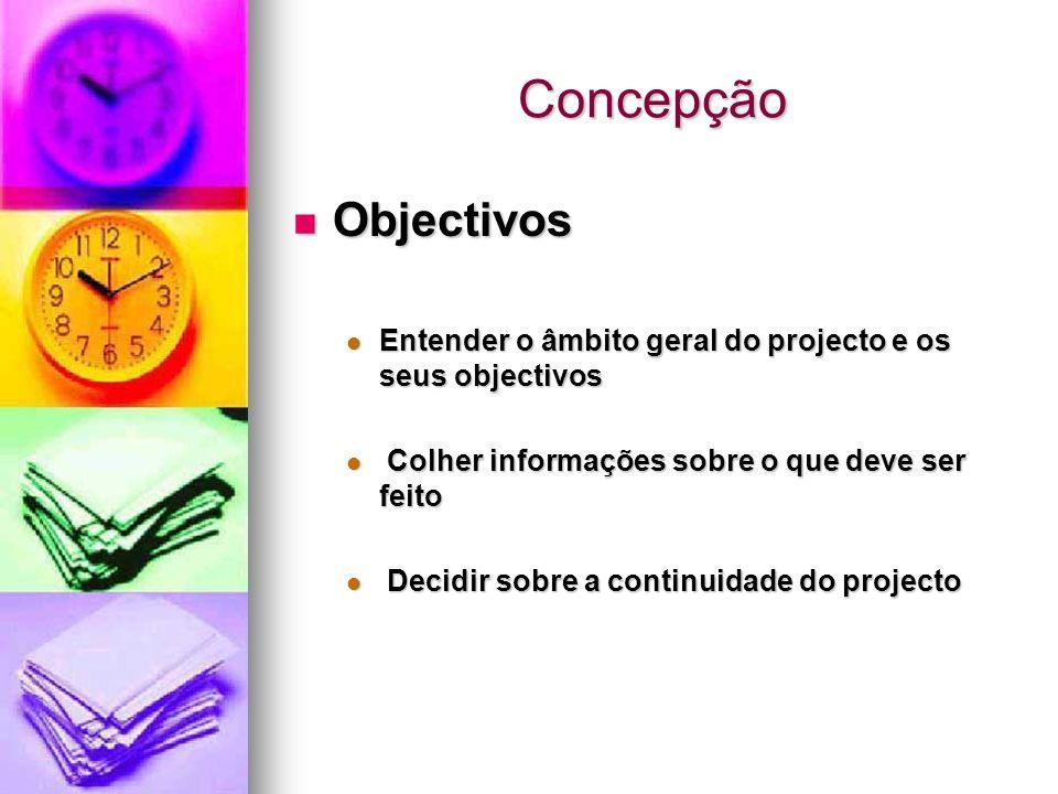 Concepção Objectivos Objectivos Entender o âmbito geral do projecto e os seus objectivos Entender o âmbito geral do projecto e os seus objectivos Colh