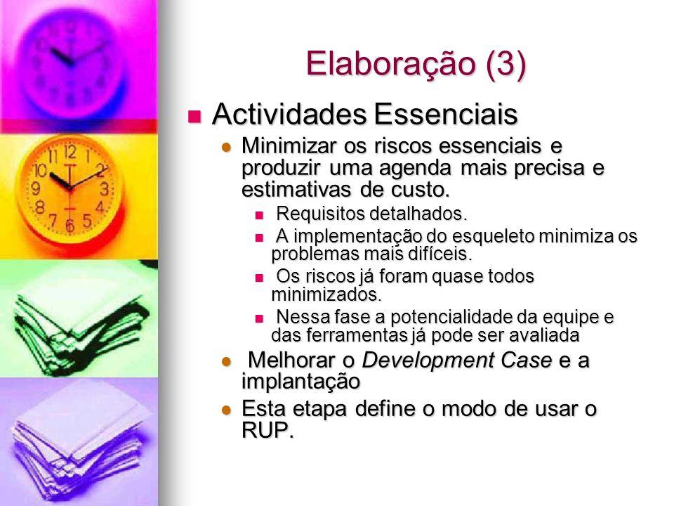 Elaboração (3) Actividades Essenciais Actividades Essenciais Minimizar os riscos essenciais e produzir uma agenda mais precisa e estimativas de custo.