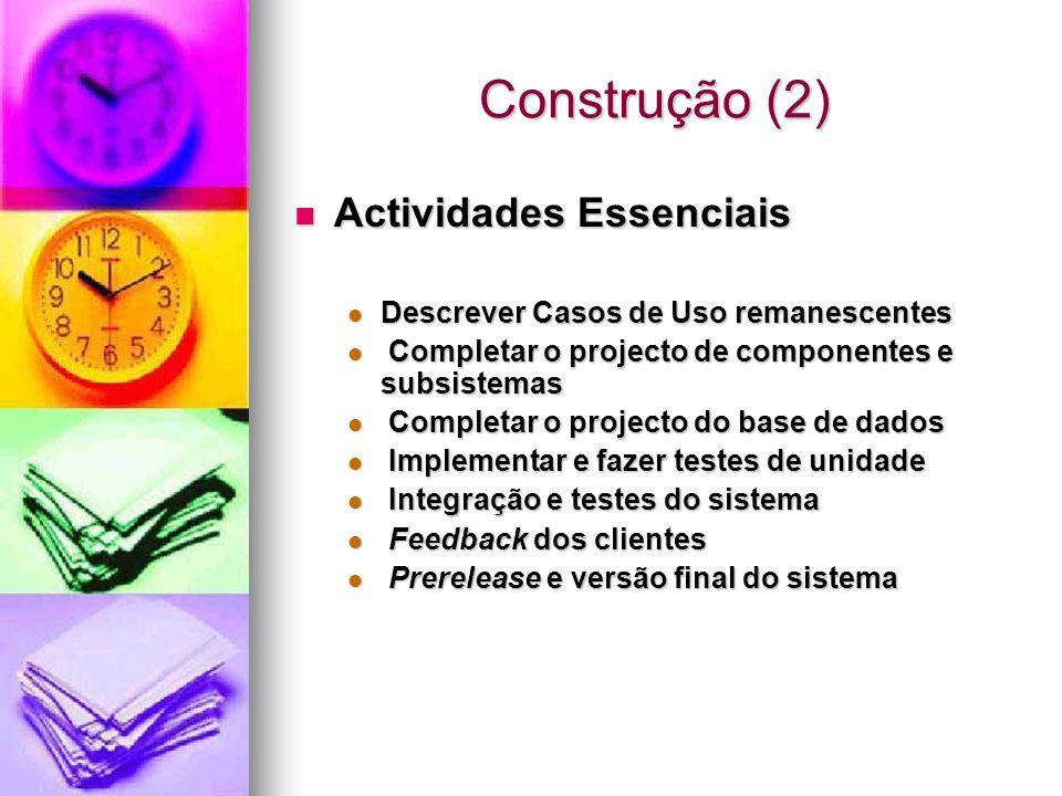 Construção (2) Actividades Essenciais Actividades Essenciais Descrever Casos de Uso remanescentes Descrever Casos de Uso remanescentes Completar o pro