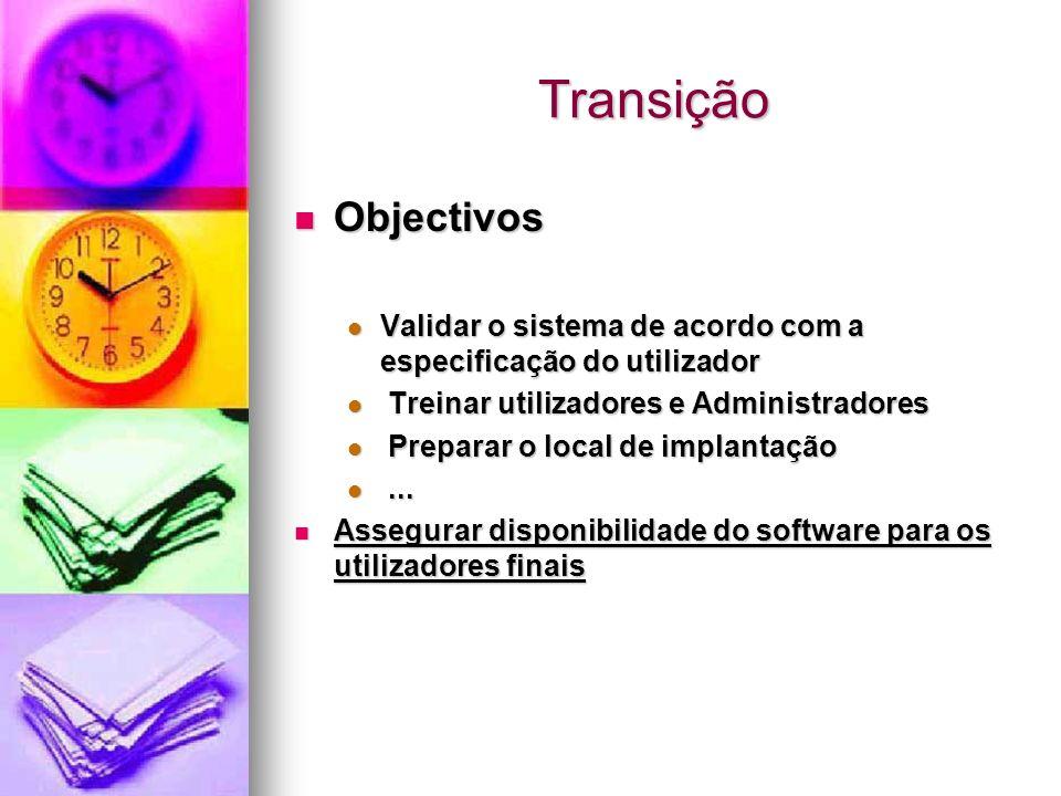 Transição Objectivos Objectivos Validar o sistema de acordo com a especificação do utilizador Validar o sistema de acordo com a especificação do utili