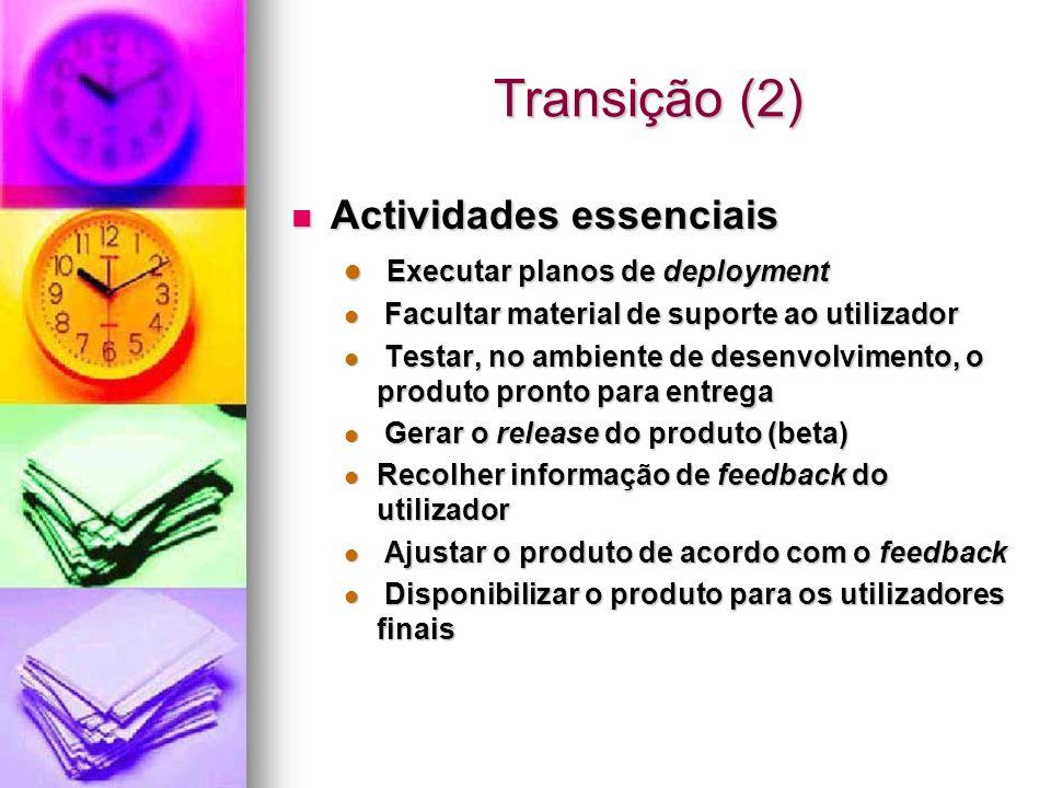 Transição (2) Actividades essenciais Actividades essenciais Executar planos de deployment Executar planos de deployment Facultar material de suporte a