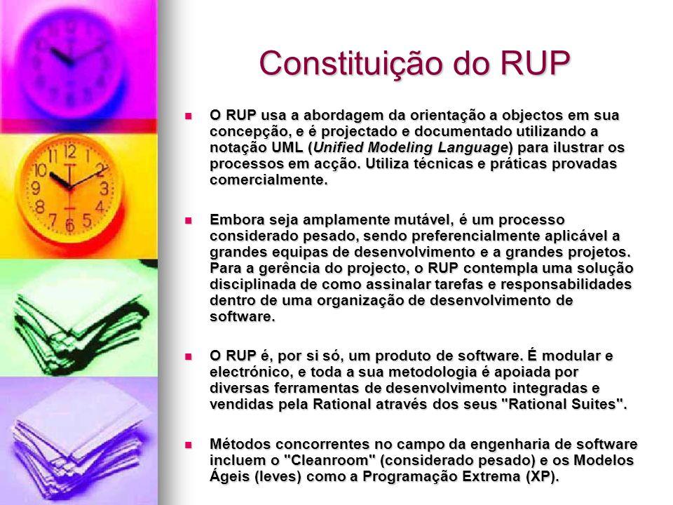 Constituição do RUP O RUP usa a abordagem da orientação a objectos em sua concepção, e é projectado e documentado utilizando a notação UML (Unified Mo