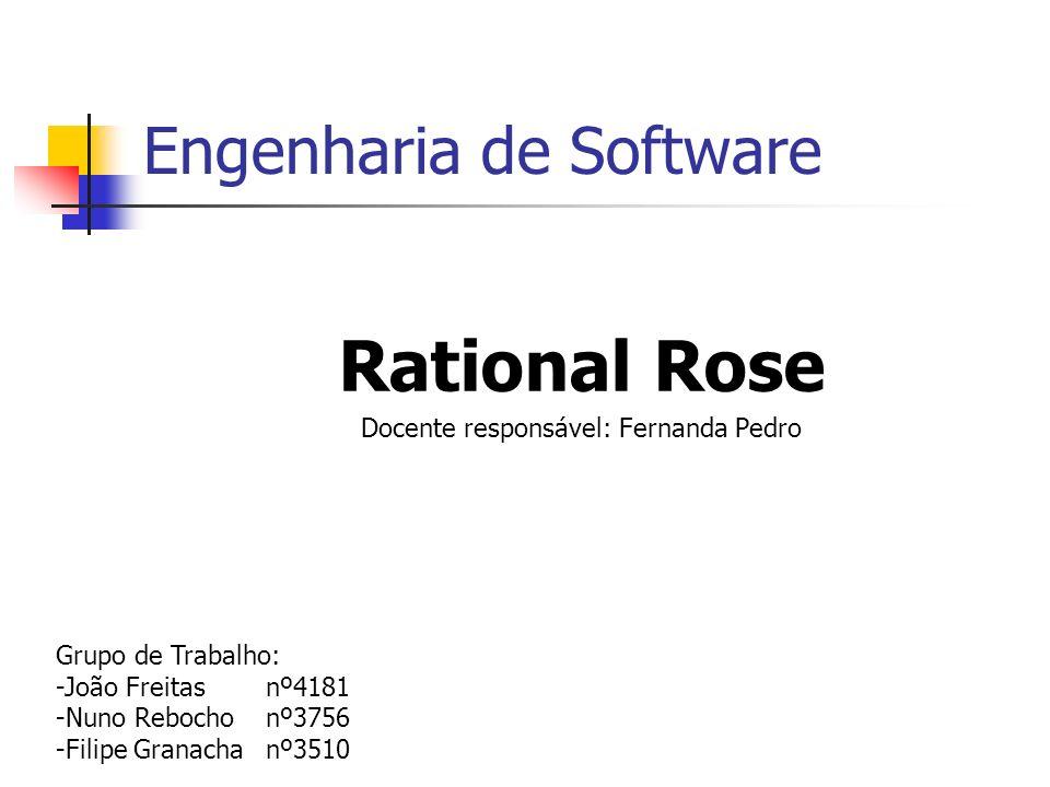 Engenharia de Software Rational Rose Docente responsável: Fernanda Pedro Grupo de Trabalho: -João Freitas nº4181 -Nuno Rebocho nº3756 -Filipe Granacha