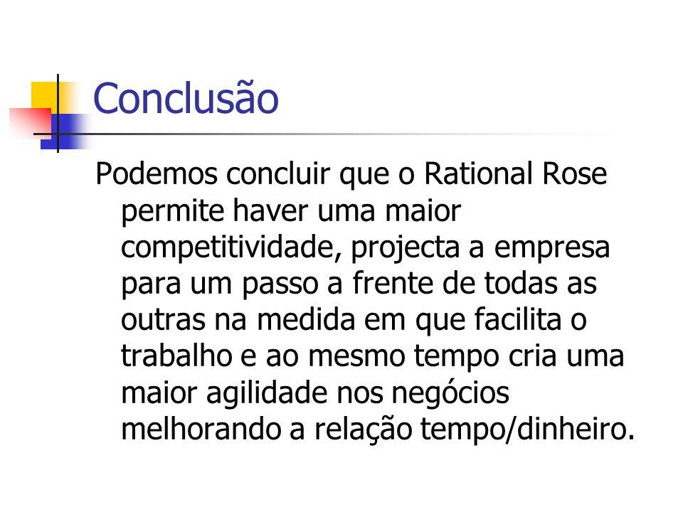 Conclusão Podemos concluir que o Rational Rose permite haver uma maior competitividade, projecta a empresa para um passo a frente de todas as outras n