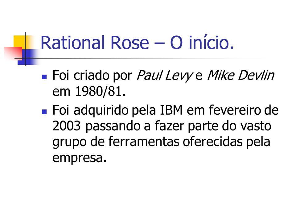 Rational Rose – O início. Foi criado por Paul Levy e Mike Devlin em 1980/81. Foi adquirido pela IBM em fevereiro de 2003 passando a fazer parte do vas