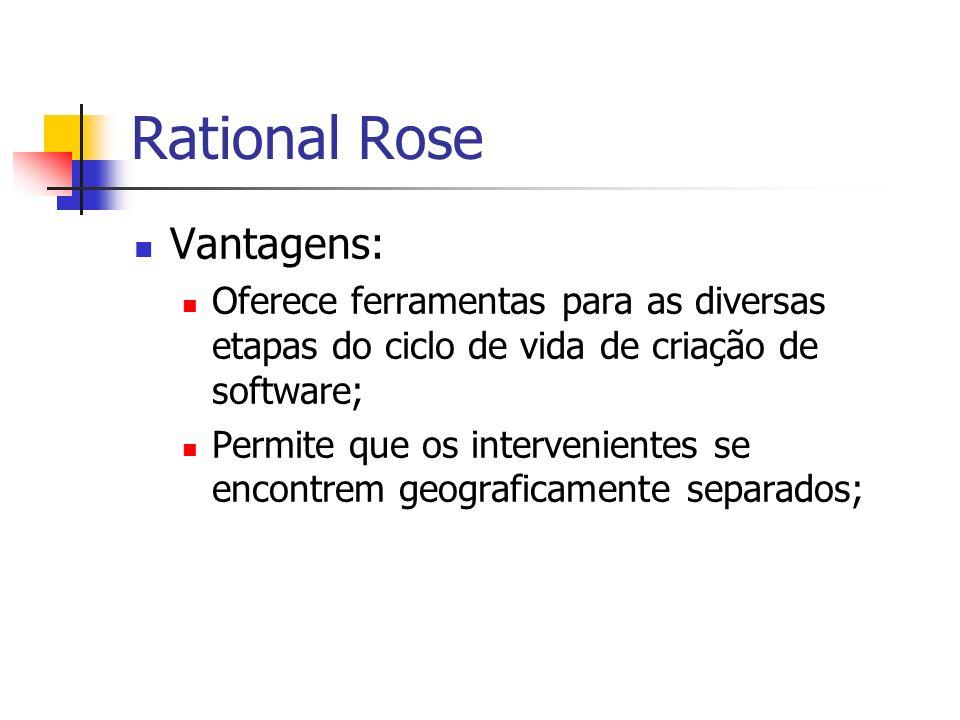 Rational Rose Vantagens: Oferece ferramentas para as diversas etapas do ciclo de vida de criação de software; Permite que os intervenientes se encontr