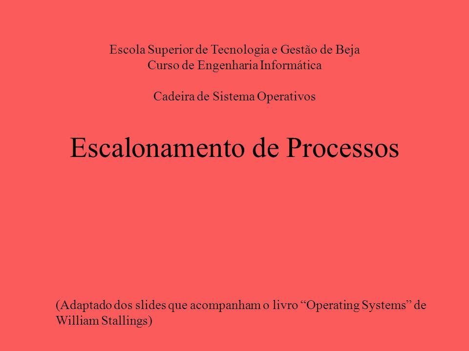 Escalonamento de Processos Escola Superior de Tecnologia e Gestão de Beja Curso de Engenharia Informática Cadeira de Sistema Operativos (Adaptado dos