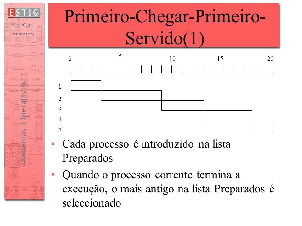 Engenharia Informática Sistemas Operativos Primeiro-Chegar-Primeiro- Servido(1) Cada processo é introduzido na lista Preparados Quando o processo corr