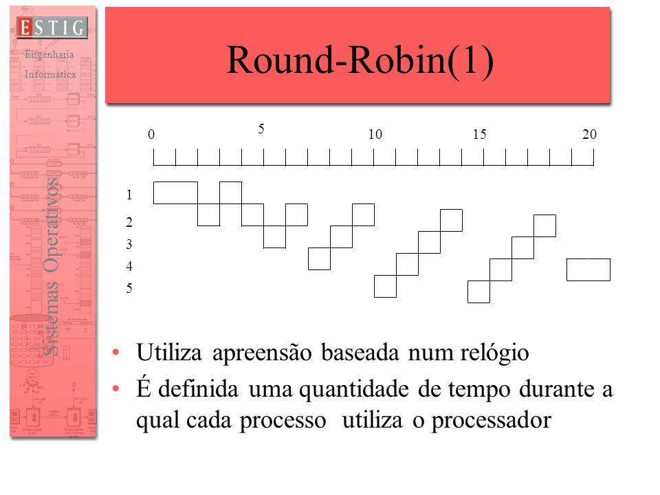 Engenharia Informática Sistemas Operativos Round-Robin(1) Utiliza apreensão baseada num relógio É definida uma quantidade de tempo durante a qual cada