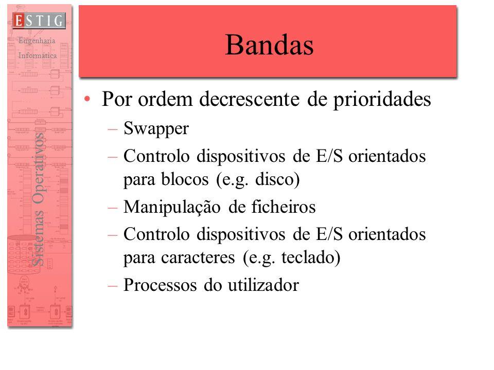 Engenharia Informática Sistemas Operativos Bandas Por ordem decrescente de prioridades –Swapper –Controlo dispositivos de E/S orientados para blocos (