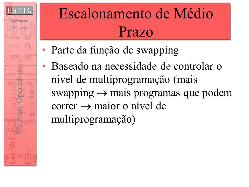 Engenharia Informática Sistemas Operativos Escalonamento de Médio Prazo Parte da função de swapping Baseado na necessidade de controlar o nível de mul