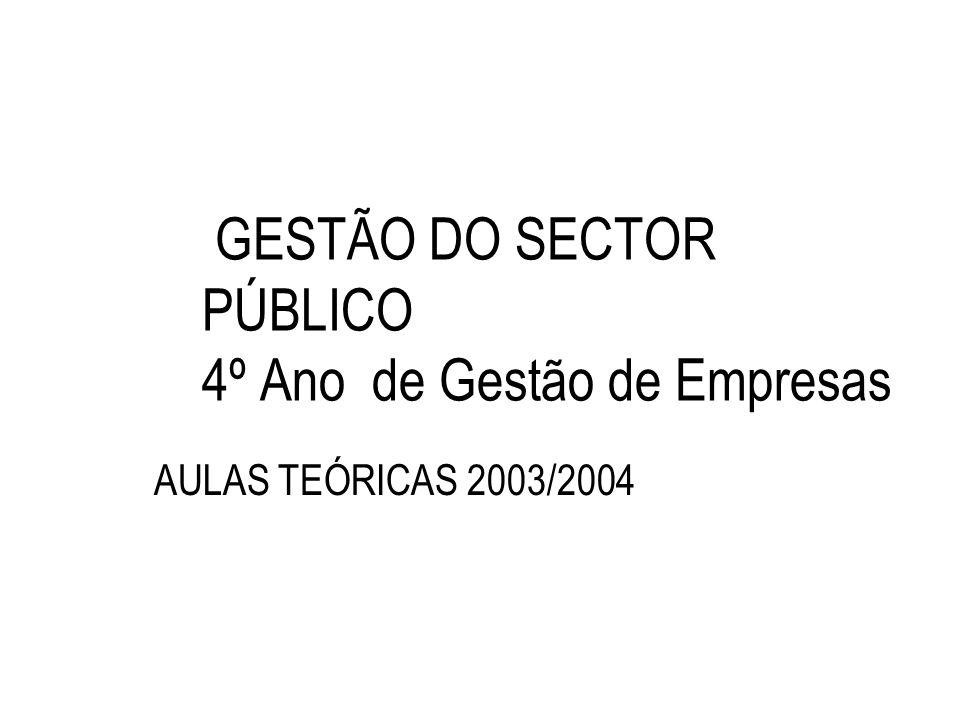 GESTÃO DO SECTOR PÚBLICO 4º Ano de Gestão de Empresas AULAS TEÓRICAS 2003/2004