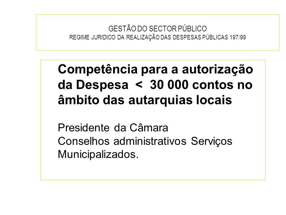 GESTÃO DO SECTOR PÚBLICO REGIME JURIDICO DA REALIZAÇÃO DAS DESPESAS PÚBLICAS 197/99 Competência para a autorização da Despesa < 30 000 contos no âmbit