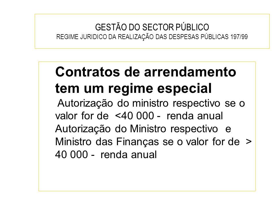 GESTÃO DO SECTOR PÚBLICO REGIME JURIDICO DA REALIZAÇÃO DAS DESPESAS PÚBLICAS 197/99 Contratos de arrendamento tem um regime especial Autorização do mi