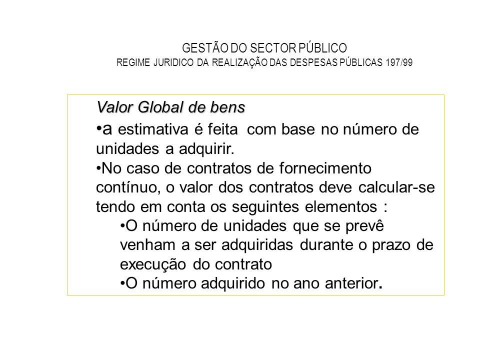GESTÃO DO SECTOR PÚBLICO REGIME JURIDICO DA REALIZAÇÃO DAS DESPESAS PÚBLICAS 197/99 Valor Global de bens a estimativa é feita com base no número de un
