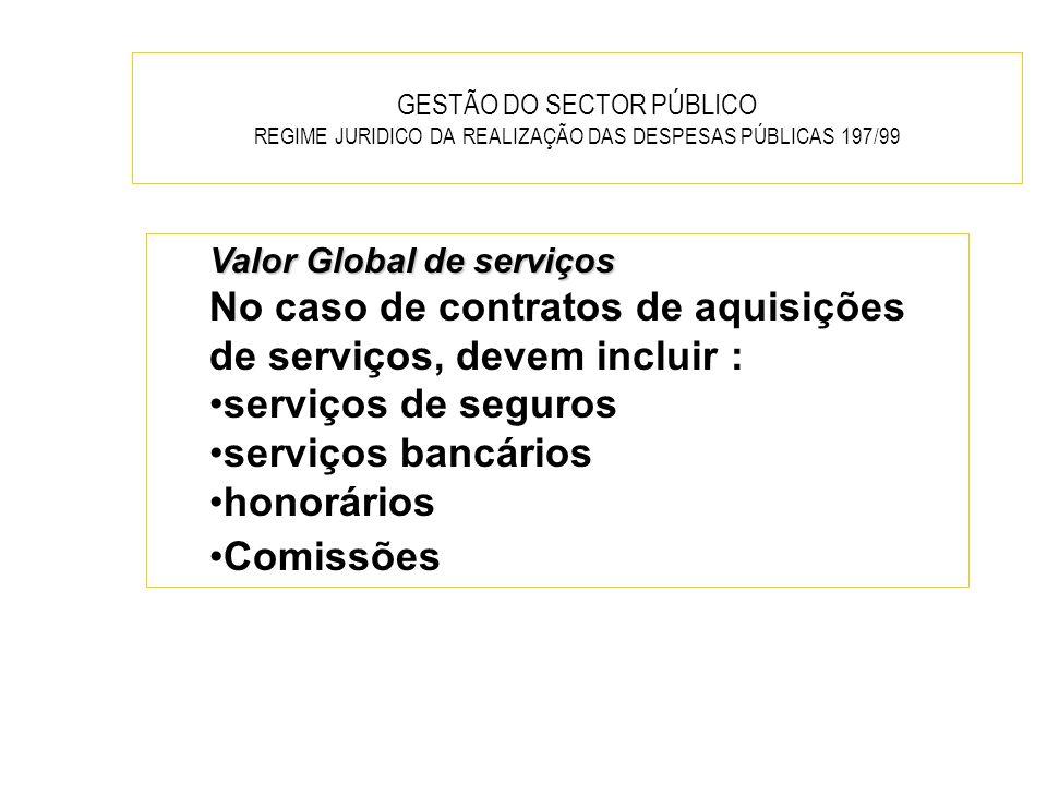 GESTÃO DO SECTOR PÚBLICO REGIME JURIDICO DA REALIZAÇÃO DAS DESPESAS PÚBLICAS 197/99 Valor Global de serviços No caso de contratos de aquisições de ser