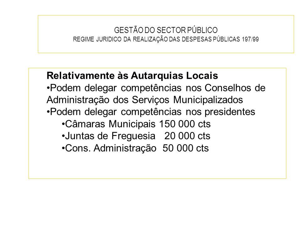 GESTÃO DO SECTOR PÚBLICO REGIME JURIDICO DA REALIZAÇÃO DAS DESPESAS PÚBLICAS 197/99 Relativamente às Autarquias Locais Podem delegar competências nos
