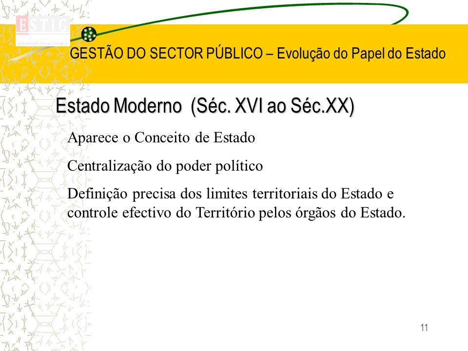 11 GESTÃO DO SECTOR PÚBLICO – Evolução do Papel do Estado Estado Moderno (Séc. XVI ao Séc.XX) Aparece o Conceito de Estado Centralização do poder polí