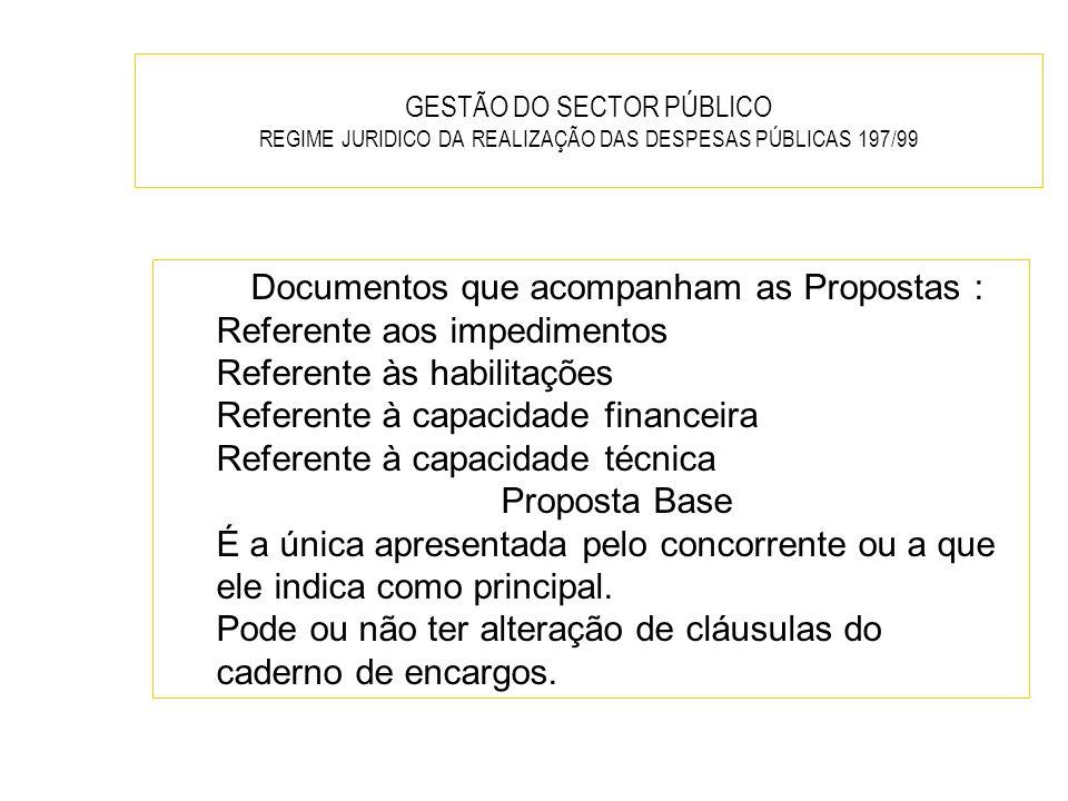 GESTÃO DO SECTOR PÚBLICO REGIME JURIDICO DA REALIZAÇÃO DAS DESPESAS PÚBLICAS 197/99 Documentos que acompanham as Propostas : Referente aos impedimento