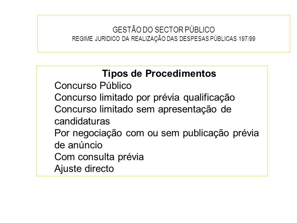 GESTÃO DO SECTOR PÚBLICO REGIME JURIDICO DA REALIZAÇÃO DAS DESPESAS PÚBLICAS 197/99 Tipos de Procedimentos Concurso Público Concurso limitado por prév