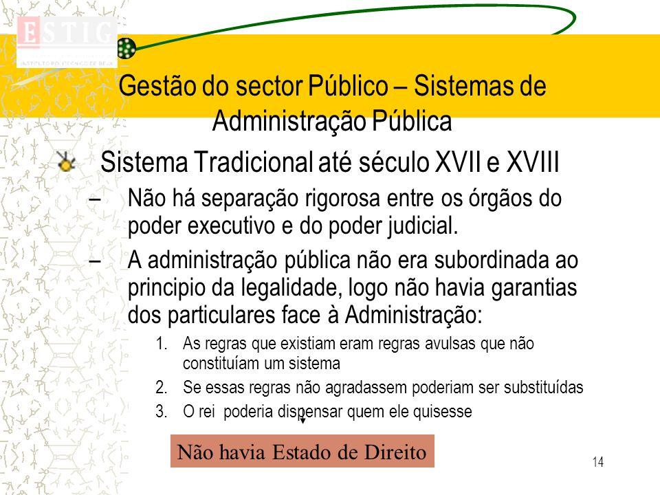 14 Gestão do sector Público – Sistemas de Administração Pública Sistema Tradicional até século XVII e XVIII –Não há separação rigorosa entre os órgãos