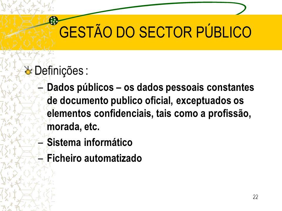 22 GESTÃO DO SECTOR PÚBLICO Definições : – Dados públicos – os dados pessoais constantes de documento publico oficial, exceptuados os elementos confid
