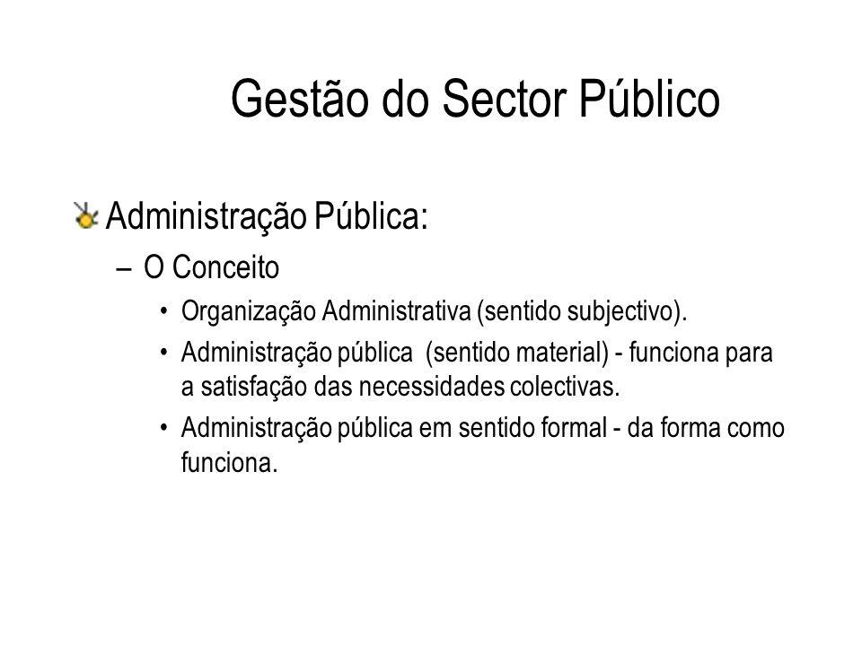 Gestão do Sector Público Administração Pública: –O Conceito Organização Administrativa (sentido subjectivo). Administração pública (sentido material)
